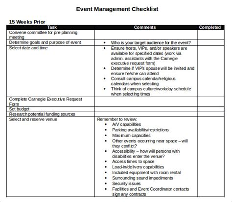 event management checklist template sle event checklist template 8 free documents in pdf