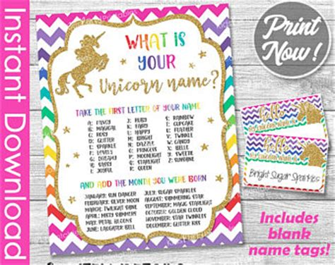 your unicorn name party sign your unicorn name party game unicorn name sign etsy