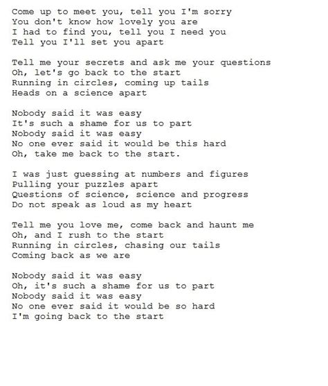 coldplay the scientist lyrics coldplay the scientist lyrics poetry pinterest