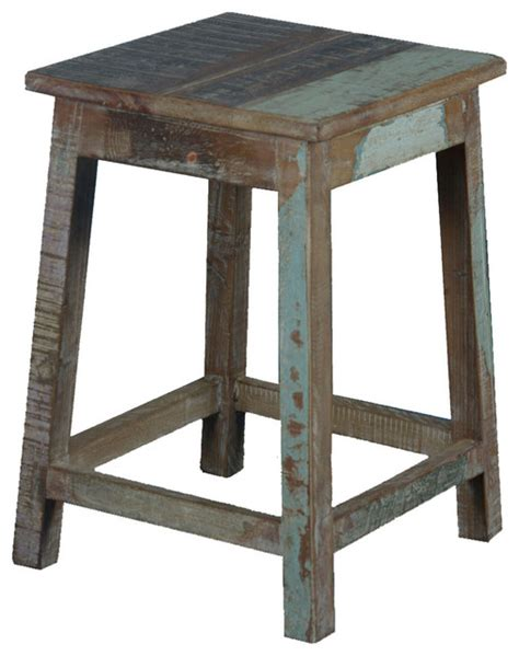 Stool Nightstand square rustic reclaimed wood 18 quot pedestal end table stool rustic nightstands and bedside