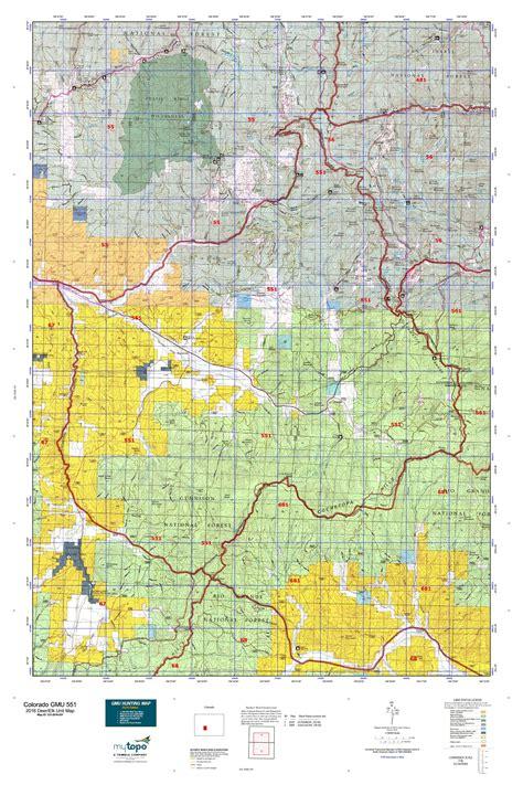 colorado elk unit map colorado gmu 551 map mytopo