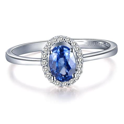 sapphire with engagement ring on 9ct white gold