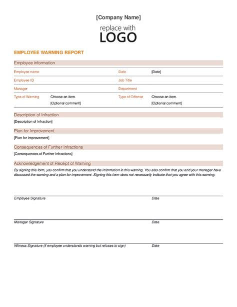 free templates forms free employee warning notice template