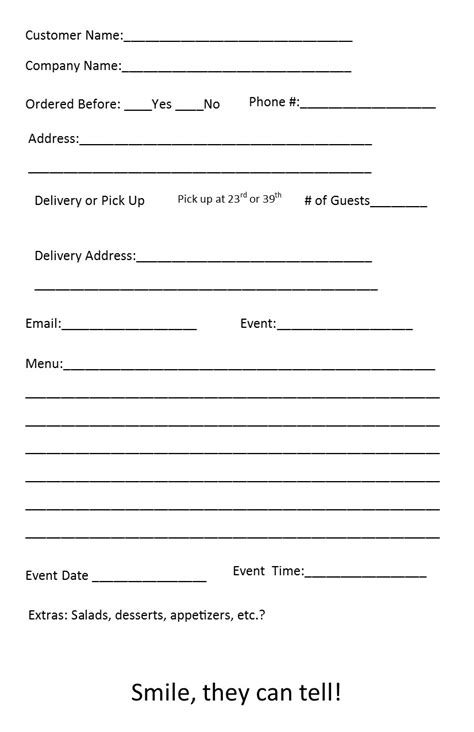 free catering order form template independent restaurant