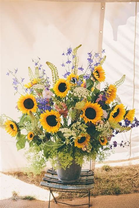 Sunflower Arrangements For Weddings by 40 Rustic Country Buckets Tubs Wedding Ideas Big