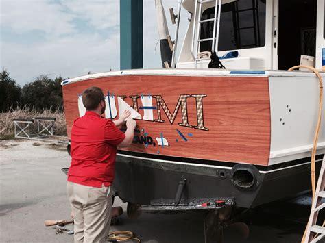 boat transom paint sportfish transom vinyl wood wrap to look like wood
