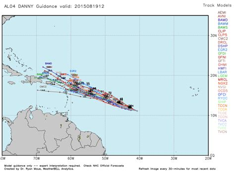 2015 projected path hurricane danny tropical storm danny moving west less likely to reach
