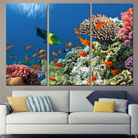3 panels canvas tropical coral reef fish home decor