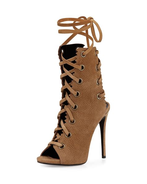 lace up boot giuseppe zanotti suede lace up boot in brown lyst