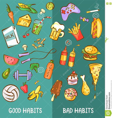 bed habits bed habits bed habits good and bad habits healthy and harmful products set