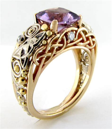 celtic ring with amethyst and diamonds