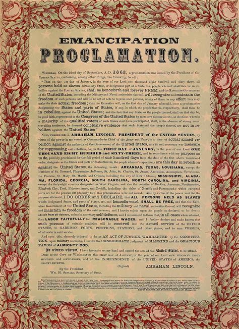 The Emancipation Proclamation Drawing by American School Emancipation Proclamation Actual Document