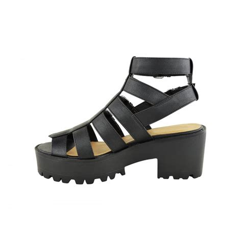 chunky heels sandals lexie black cut out chunky heel buckle sandals