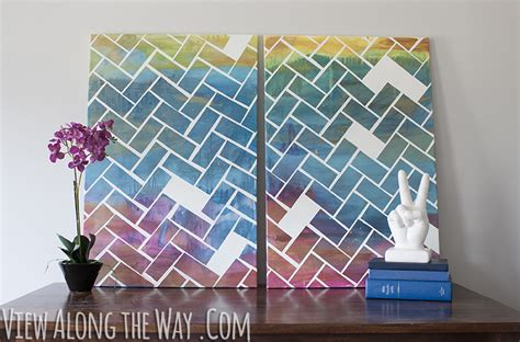 diy canvas projects how to make a herringbone easy and