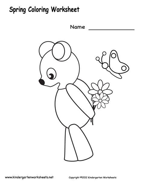 worksheets for preschool coloring kindergarten spring coloring worksheet printable spring