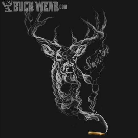 smoke em picture of deer in smoke buck wear hunting t shirt