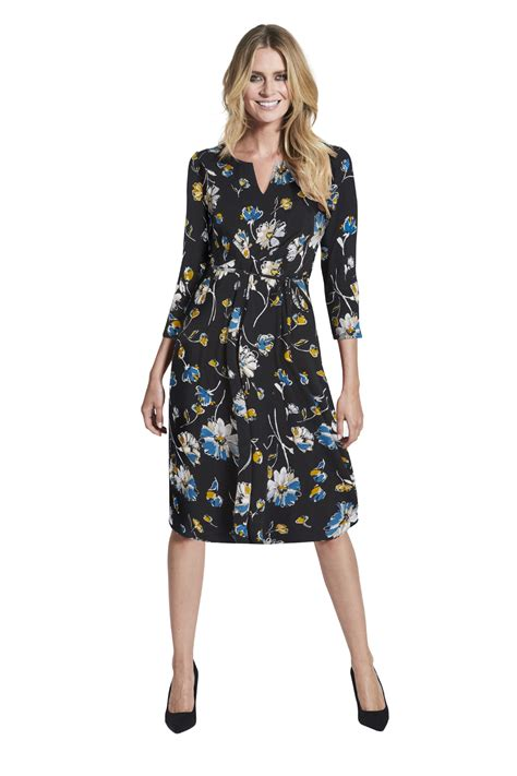Print Sleeve Dress floral print 3 4 sleeve tea dress