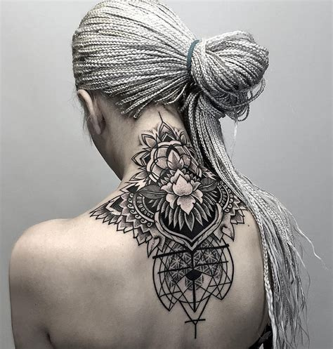 neck tattoo geometric floral pattern best tattoo ideas