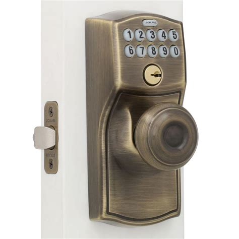 schlage camelot bright brass keypad entry with flex lock