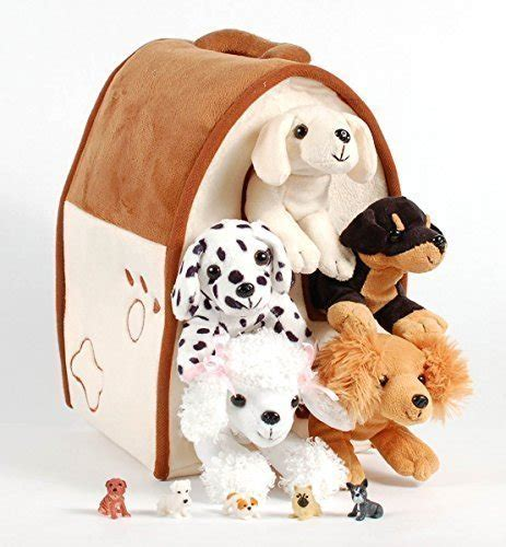plush dog house unipak unipak 12 quot plush dog house carrying case with five 5 stuffed animal dogs