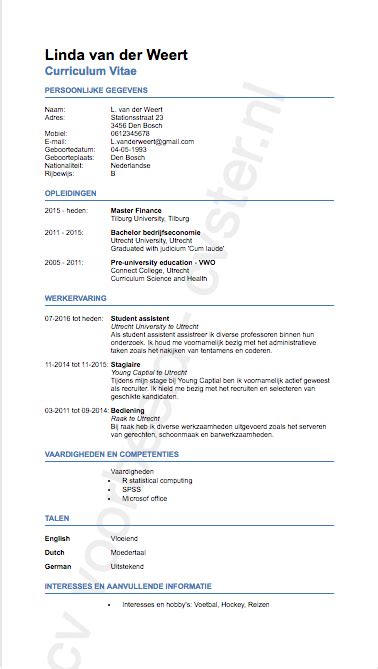 Curriculum Vitae Us by Cv Voorbeeld Voor Studenten Download Hier Gratis