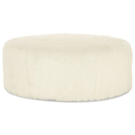 faux fur pouf ottoman eveline hollywood regency white faux fur round ottoman