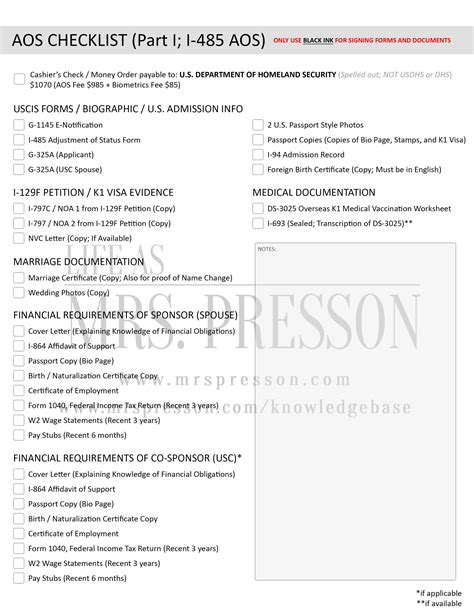 Employment Letter For K1 Visa How To Prepare Your Aos Package Forms Requirements And Checklist As Mrs Presson