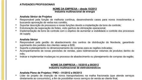 Modelo Curriculum Vitae Analista De Sistemas Modelo De Curr 237 Culo Para Especialista Ou Gestor J 250 Nior Parceria Social De Empregos