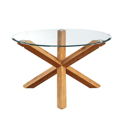 glass and oak dining table miso solid oak and glass dining table