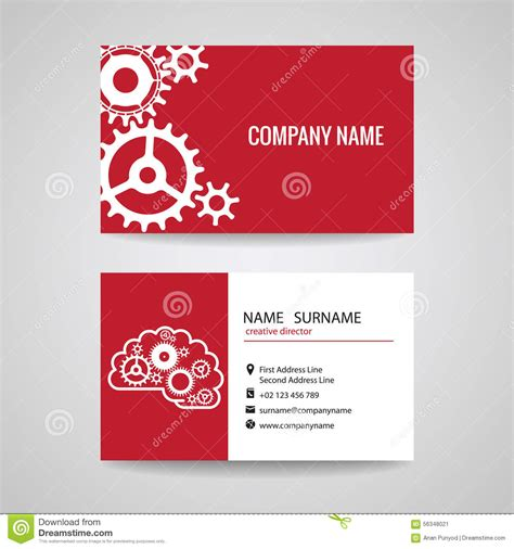 cards templates mechanical business card gear idea for engineer and mechanical stock
