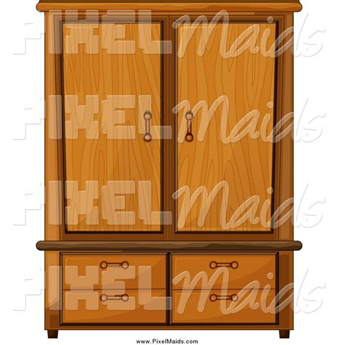 Closet Clip by Clipart Of A Wardrobe Armoire Closet By Colematt 147835