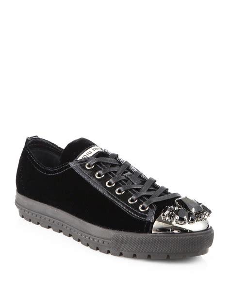 miu miu velvet sneakers miu miu velvet sneakers in black lyst