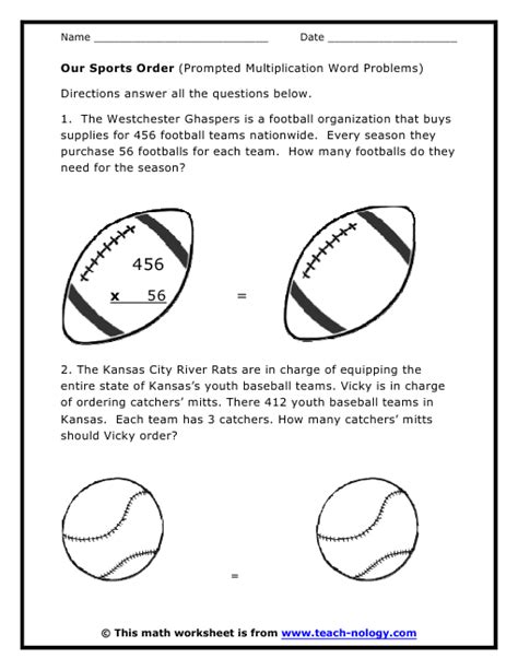 Football Worksheets For Middle School by Our Sports Order Prompted Multiplication Word Problems