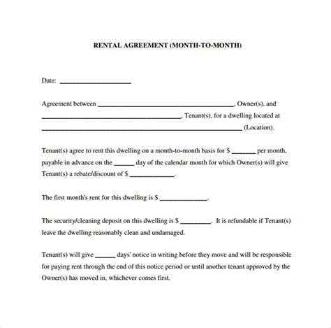 month to month rental agreement forms 12 month to month rental agreement form templates to