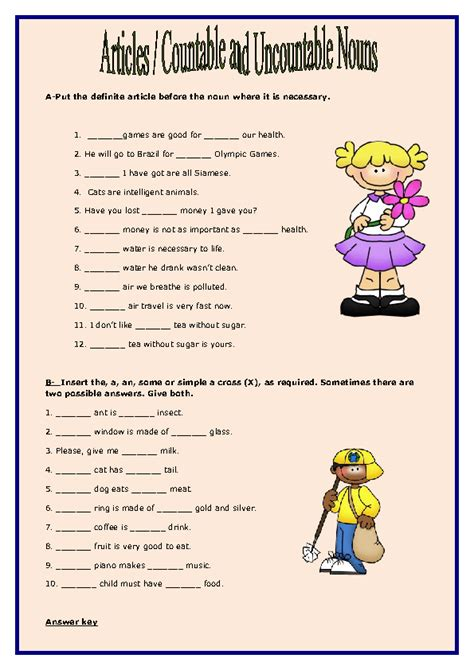 articles countable and uncountable nouns worksheet
