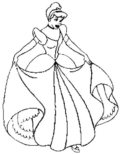 Disney Princess Cinderella And Her Gown Coloring Pages Printable Cinderella Coloring Pages