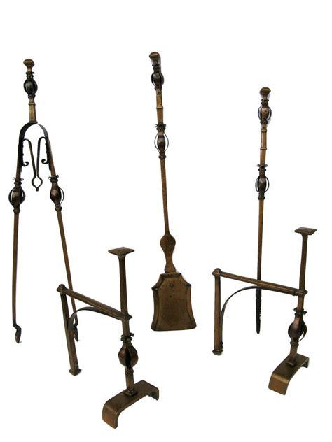 arts and crafts superb andirons fireplace tools copper