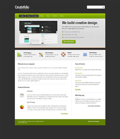 html templates for website with css createfolio css template corporate css templates css