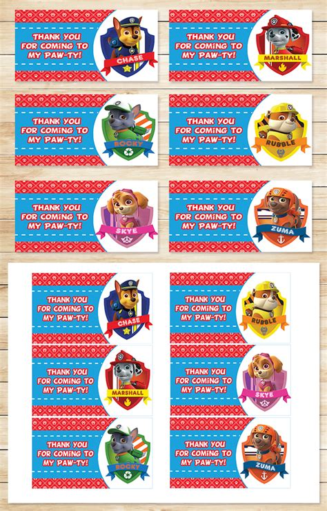 printable labels party favors paw patrol party tags red paw patrol by