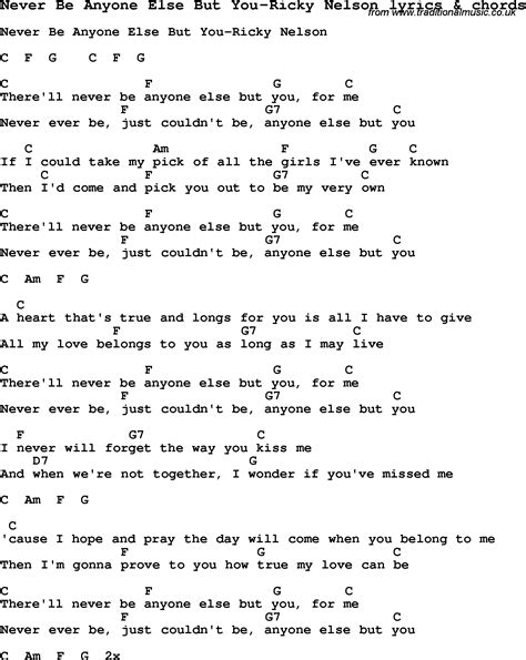 anyone else but you love song lyrics for never be anyone else but you ricky