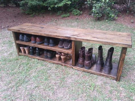 rustic entryway bench boot bench  shoe rack  boot