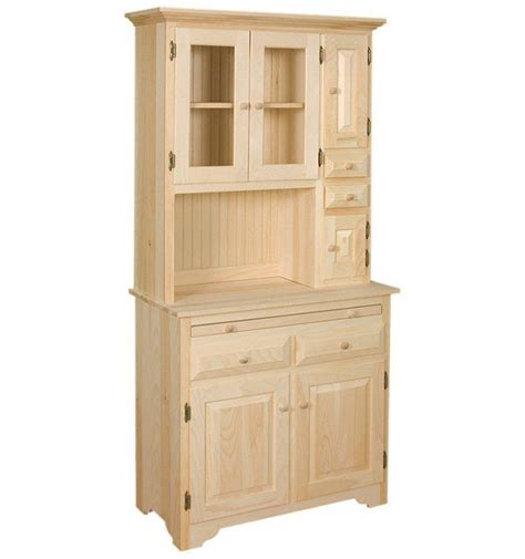 Unfinished Storage Cabinets Amish Unfinished Solid Pine Hoosier China Pantry Storage Cabinet Hutch Country Ebay