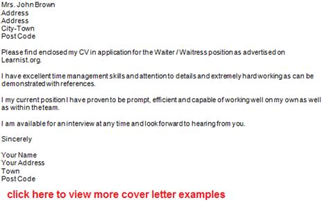 cover letter waiter waiter application letter exle forums learnist org
