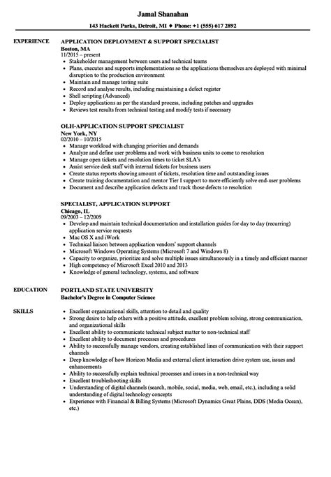 specialist application support resume sles velvet