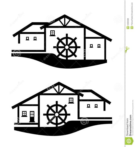water mill coloring page mill complex royalty free stock photos image 34903588