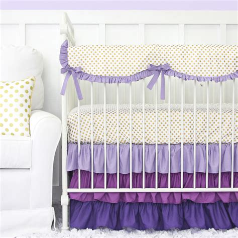 gold nursery bedding purple and gold dot ruffle crib bedding set by caden lane