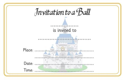cinderella ball invitation free early years primary