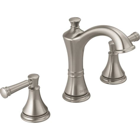 bathroom sink with two faucets shop delta valdosta spotshield brushed nickel 2 handle