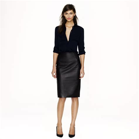 j crew collection leather pencil skirt in black lyst