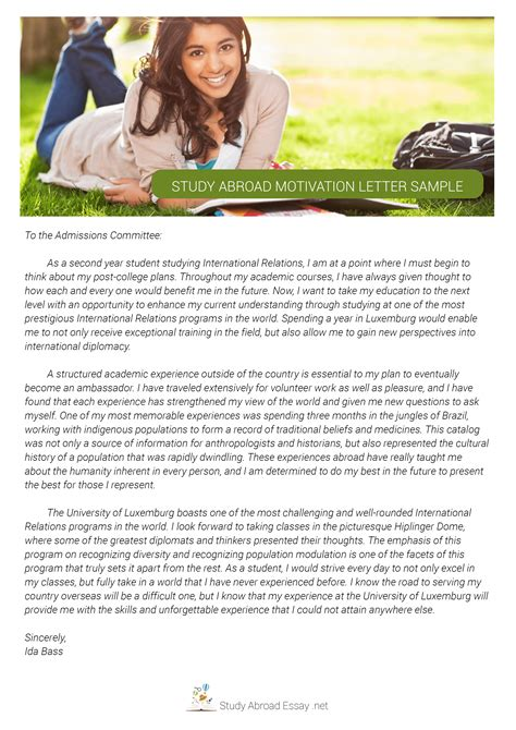 Motivation Letter Exle To Study Abroad Sle Study Abroad Scholarship Essay
